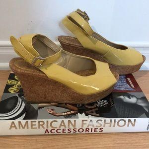Shoes - NWOT yellow patent platform sandals
